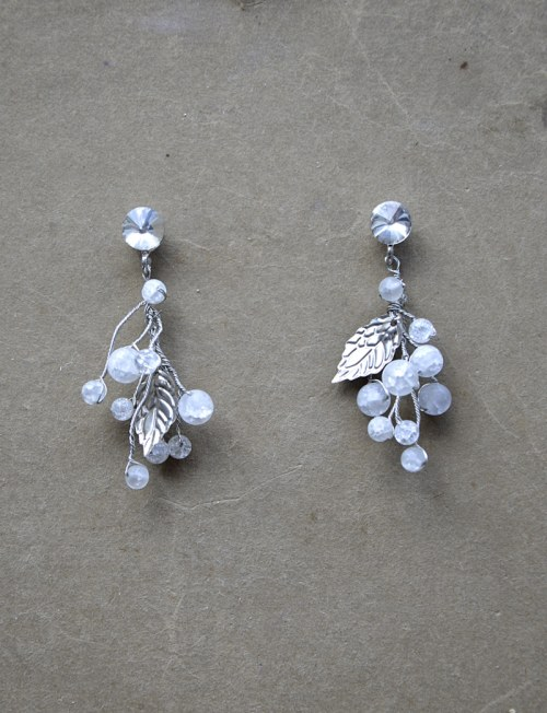 Tender earrings with natural quartz beads no.50
