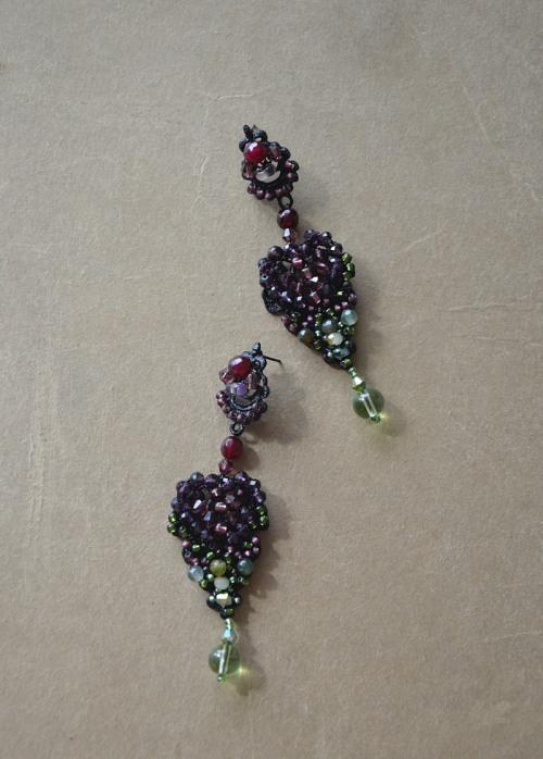 Kolczyki w odcieniach zieleni i fioletu numer 414